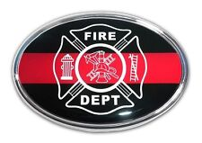 Firefighter Oval Chrome with Color Car Truck Emblem High Quality Made in the USA
