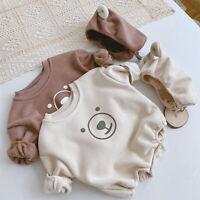 Toddler Baby Boys Girls Cartoon Bear Romper Cotton Infant Jumpsuit Clothes 2PCS