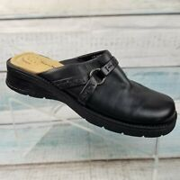 Thom McAn Womens Black Leather Slip On Ring Clogs Mules Shoes Size US 9.5 M
