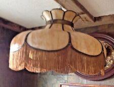 SALE Antique Art Nouveau Yellow Slag Glass Hanging Shade Lamp