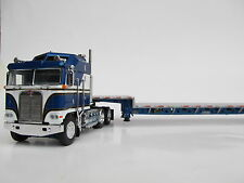 DCP 1/64 SCALE KENWORTH K-100 BLUE/WHITE WITH SILVER STEP DECK / BLUE FRAME