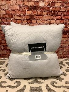 Madison Park Vancouver Quilted Square Decorative Pillow Pair Grey 20 x 20 In