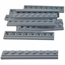 10 NEW LEGO Plate, Modified 1 x 8 with Door Rail Light Bluish Gray