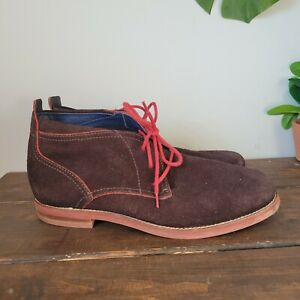 Cole Haan Air Charles Chukka C11165 Brown Suede Red Boots SIZE 10.5