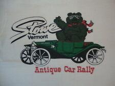 Vintage Vermont Stowe Antique Car Rally Souvenir Bear Soft Thin White T Shirt S