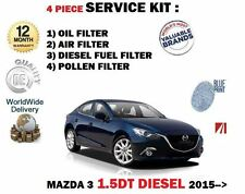 FOR MAZDA 3 BM 1.5DT DIESEL 2015 > NEW OIL AIR FUEL POLLEN 4 FILTER SERVICE KIT
