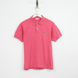 AF41 Vtg Lacoste Polo Mens Pink Short Sleeve Cotton Shirt Size 3 S