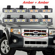 8pcs 2LED Amber/White Car SUV Offroad Grille Dash Emergency Strobe Warning Light