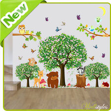 Animal Wall Stickers Owl Jungle Zoo Nursery Baby Kids Room Decals Art Decors