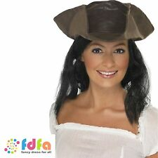 BROWN LEATHER LOOK PIRATE HAT WITH HAIR ladies womens fancy dress costume
