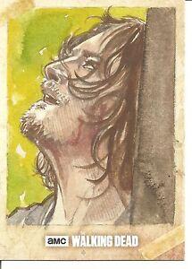 Walking Dead Season 6 Daryl Sketch Trading Card by Tina Berardi - One of a Kind