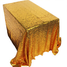 "40""x 60"" Gold Sequin Tablecloth Rectangle Table Cloth Cover Wedding Party Decor"