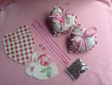 Cath Kidston White Rose Fabric Hanging Hearts With Scented Lavender Sewing Kit
