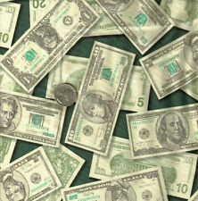 Paper Money Allover on Black Bills Kids I Spy Novelty Quilt Fabric HALF YARD