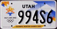 2002 UTAH Salt Lake City Winter Olympics License Plate - Random Letters - UT