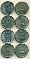 4 DIFFERENT 5 RUPEE COINS from INDIA - ALL 1996 w/ MINT MARKS of B, C, H & N