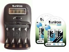 UNiROSS LCD 1-2 HOUR AA/AAA CHARGER & 8 x AA 2600 Series Rechargeable Batteries