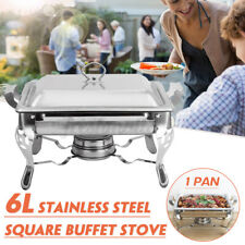 Single Compartment 6L Chafing Dish Square Buffet Stoves Caterers Food Warmer