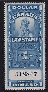 Canada VD #FSC18 (1935) $1 blue George V Law Stamp Mint VF NH MNH