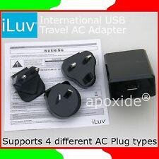 iLUV® i108BLK★ALIMENTATORE INTERNAZIONALE USB 5Vdc 2A★AC TRAVEL ADAPTER 4 PLUG
