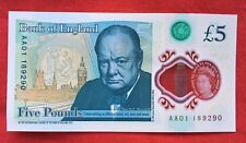 More details for collectors! 5 pound note aa01 new, uncirculated, low number! - polymer, 2016
