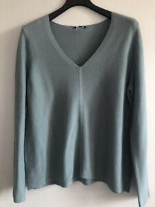 NWT $268 Eileen Fisher BLUE STEEL Fine Cotton/Silk V-Neck Top Sweater  L