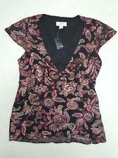 Ann Taylor Loft Womens size 2 V Neck Blouse Top, Paisley Print, Black Maroon NWT