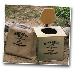 JIMMY'S THUNDERBOX Outdoor Camp Toilet RAW MDF SEAT & 6 In viro bags