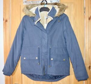 Girls Boutique Ex Catalog Dark Blue Half Fake Fur Lined Coat 10 - 12 Years