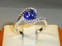 Ladies Hallmarked 925 Solid Silver Tanzanite and White Sapphire Cocktail Ring
