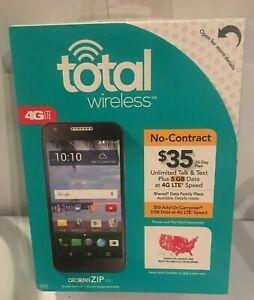 "Alcatel ZIP Prepaid Smartphone 5.0"" 16GB Black - Total Wireless. Brand New."