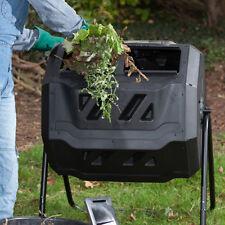 Compost Tumbler Bin Dual Chamber Rotating Outdoor Garden Trash 43 Gallon Black