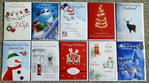 Job Lot x10 Christmas Cards A5 size various captions for family and friends