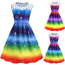 Womens Plus Size Vintage Dress Christmas Snowflake Rainbow Printed Swing Dress