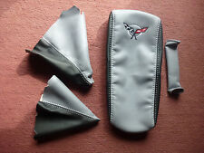 1997-2004 C5 Corvette 4 piece Boot Kit in Synthetic Leather Black and light Grey
