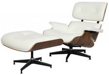 Eames Lounge Chair & Ottoman Mid-Century Reproduction White Walnut REAL Leather