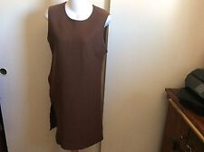 Zara Studio Wool Brown High Slit Sleeveless Dress Size M NWT Retails $59.95