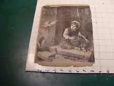 vintage early SCRAP BOOK PAGE double sided - child w birds & 2 poems