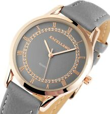 Damen Armbanduhr Grau/Rosé Crystal Kunstlederarmband von Excellanc 190/081