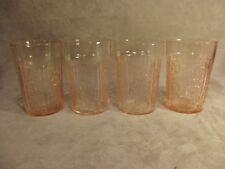 "4 Federal Glass SHARON Pink 4"" Thin Flat Tumblers ~ Lot 2"
