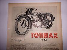 ORIG. UM 1930 MOTOR & SPORT  BERICHT TEST TORNAX K 125 2 SEITEN A4 BELGIEN