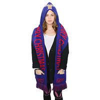 3 in 1 Unisex Winter Warm Knit Plush Long Hooded Hat Cap Hooded Scarf Gloves