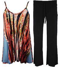 Womens Ladies Plus Size Cami Swing Mini Dress and Trouser Long Top vest 16-26