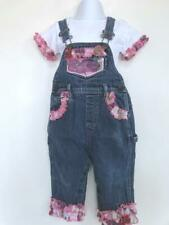Baby Girls Blue Denim Overalls & T-Shirt Embellished With Ruffles ~ 18 Mons.