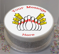 """Novelty Personalised Ten Pin Bowling 7.5"""" Edible Icing Cake Topper birthday"""