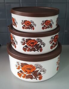 St Michael Lidded Stackable Container With Orange Flowers Set of 3 Vintage/Retro