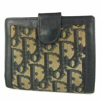 Auth Dior Vintage Trotter Canvas Leather Metal Clasp Bifold Wallet Purse 11711b