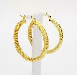 Ladies Earrings 9ct (375, 9K) Yellow Gold Twist Hoop Earrings