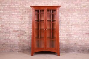 Ethan Allen Arts & Crafts Solid Cherry Wood Lighted Bookcase or Display Cabinet