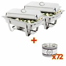 2X Milan Chafer And 72X Olympia Gel Fuel Tins Stainless Steel Food Warmer